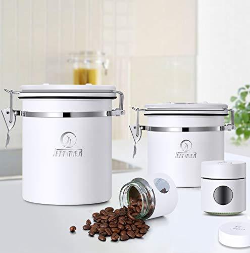 JENNIMER 4-teiliges Kaffee-Behälter-Set, Edelstahl, weiß, luftdicht, Vorratsdosen mit Schaufel, CO2-Ventil und gratis Cappuccino-Schablonen für Kaffeebohnen, gemahlenes oder tolles Geschenk (weiß)