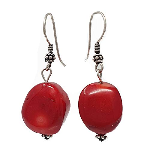 TreasureBay Stunning Natural Red Coral Dangle Drop Earrings, Pierced Earrings Made With Sterling Silver