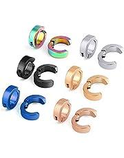 6 Pairs Fake Clip Earrings Uomo Donna Fake Earrings Stainless Steel senza foro Fake Hoop Orecchini Orecchini Orecchini non forati Orecchini Ear False ear hoop senza foro dell'orecchio falsi orecchini