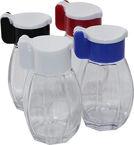 RMB® 4er Set Gewürz-Salz-Pfeffer-Streuer mit Farbiger Klappe