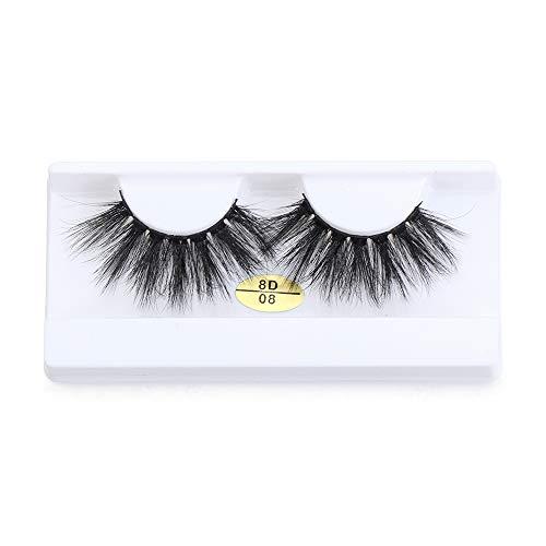 Xunteng SKONHED 1 Pair Beauty Handmade Eye Makeup Tools Criss-cross False Eyelashes Thick Long Eye Lash Extension 8D Faux Mink Hair(8D08)
