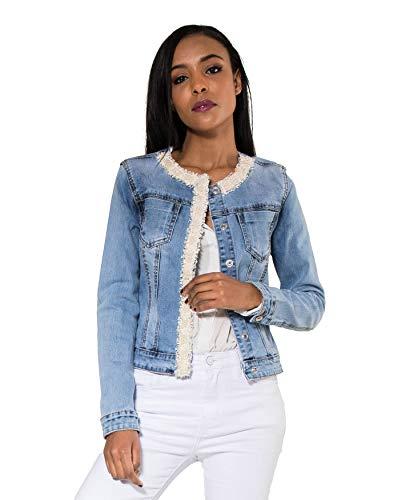 EGOMAXX Damen Denim Jeans Jacke Helles Jacket Glitzer Perlen Übergangsjacke, Farben:Blau, Größe:L