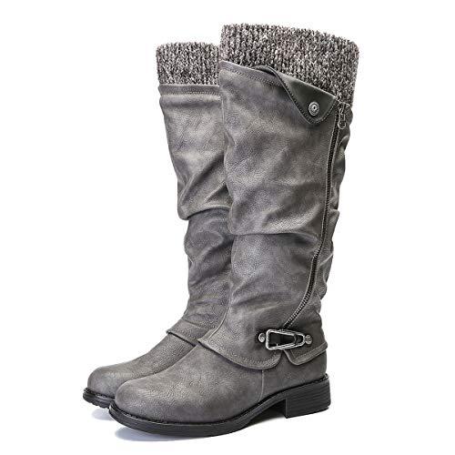 gracosy Botas de Mujer Otoño Invierno 2020 Tacon Bajo Zapatos Largas Botas Forrado de Piel Antideslizante Cómodo Cremallera Hebilla,Negro Marrón Gris