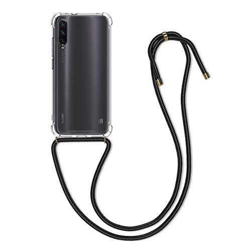 kwmobile Carcasa con Cuerda Compatible con Xiaomi Mi A3 / CC9e - Funda Transparente de TPU con Cuerda para Colgar en el Cuello