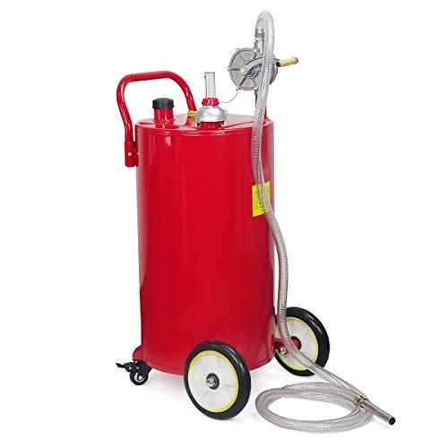 STKUSA Stark 35-Gallon Portable Fuel Transfer Gas Can Caddy Storage Tank Crank Pump 35 Gal-Capacity Pump w Wheel, Red (65114)