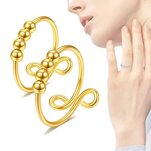 HHJY 2pcs Fidget Rings for Anxiety for Women, Anxiety Sliding Bead Ring, Spinner Ring Silver Gold Plated Adjustable Finger Single Coil Spiral Aabsorbs Negative Energ (Gold)
