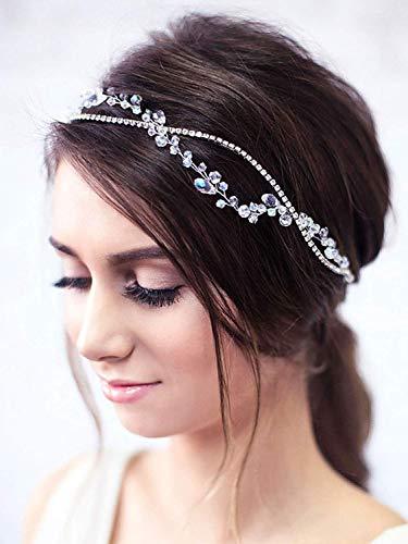 Simsly FS-148 Haarschmuck, für Bräute, Brautjungfern und Abschlussbälle, Haarreif in Rankenform mit Strasssteinen, silberfarben