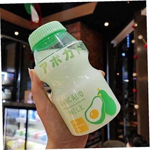 Lankater Botella Fresa De Kawaii Botella De Agua Portátil a Prueba De Fugas Transparente De Consumición por Muchacha De Los Niños 480ml Azar