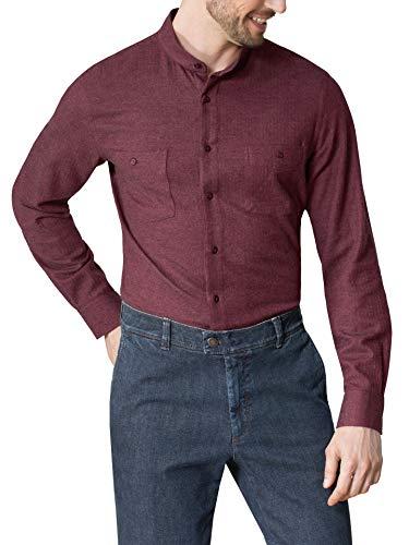 Walbusch Herren Hemd Thermoflanell Stehkragen einfarbig Rot 41-42 - Langarm extra kurz