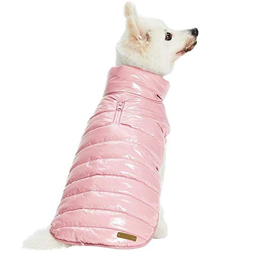 Blueberry Pet Cozy & Comfy Windproof Lightweight Quilted Fall Winter Dog Puffer Jacket in Pink, Back Length 15.75', Size 14, Warm Coat for Medium Dogs