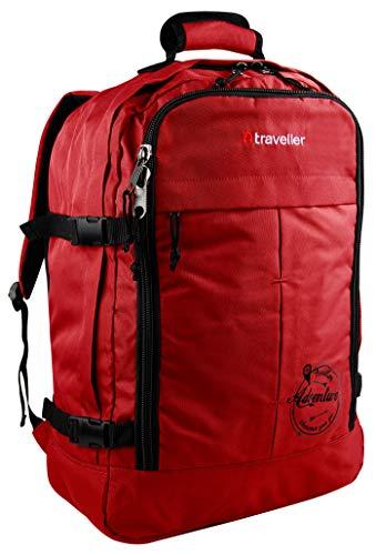 Traveller Handgepäck Rucksack 55x40x20 für Ryanair, Easyjet und Kabinenrucksack, Bordgepäck Handgepäcktasche, Rot