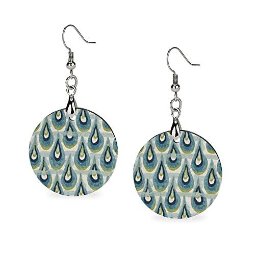 Pendientes de madera de verano de moda colgantes ligeros pendientes redondos círculo para mujeres niñas, verde y azul marino arte gráfico