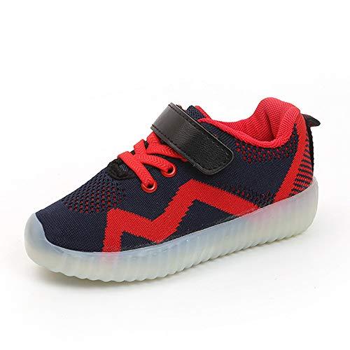 Niños Chicas LED con Luces Zapatillas de Deporte Luz Brillante USB 7 Colores Zapatos para,Ligero Transpirable 7 Colores USB Carga Luminosas Flash Deporte de Zapatos.