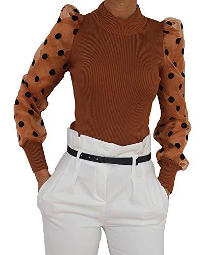Loalirando Dames pullover lange mouwen T-shirt blouse met pofmouwen transparant gestippeld winter lente - bruin - XL