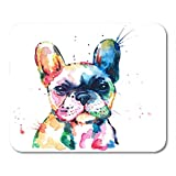 Emvency Mouse Pads Frenchie French Bulldog Original Watercolor of Dog Rainbow Funny Happy Mousepad 9.5' x 7.9' for Laptop,Desktop Computers Accessories Mini Office Supplies Mouse Mats