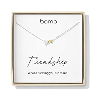 Boma Jewelry Sentiments Collection Friendship Sterling Silver Two Hearts with 14kt Gold Vermiel Necklace 18 Inches