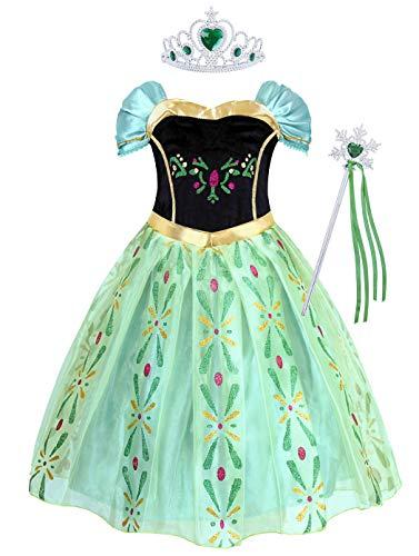 AmzBarley Prinzessin Kleider Kostüm für Mädchen Prinzessinenkleid Kinder Kleid Schneekönigin Eiskönigin Halloween Cosplay Party Karneval Kleidung
