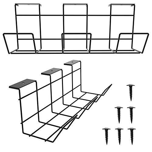 Scandinavian Hub Kabelkanal für die Schreibtisch-Unterseite - Computer Kabel-Aufbewahrung zum einfachen Kabel-Management. Kabelkorb aus Metall für Zuhause und Büro (Grau - 2er Set)