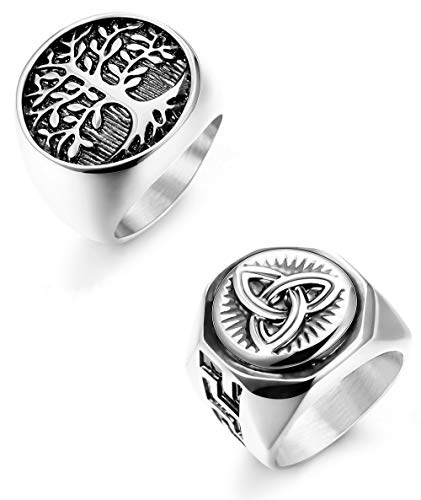 Hanpabum 2Pcs Stainless Steel Rings for Men Celtic Knot Signet & Tree of Life Rings Set Size 7-13
