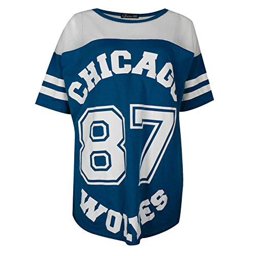 Chicago 87 Wolves Damen Baseball T-Shirt Lang Loose Baseball Gr. Medium-Large, Türkis / Blau / Grün