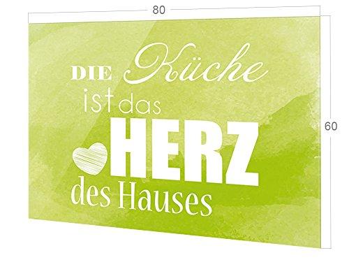 GRAZDesign Rückwand Küche Spruch, Küchen Spritzschutz Herd grün, Küchenrückwand Glas Die Küche ist das Herz des Hauses / 80x60cm