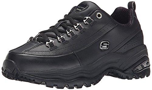 Skechers womens Premium fashion sneakers, Black/Black Leather, 8.5 US