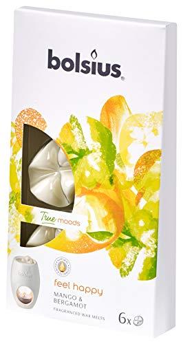 Bolsius 6 Wax Melts Cialde di Cera Profumata, Colore Bianco, Fragranza Feel Happy (Mango e Bergamotto), True Moods