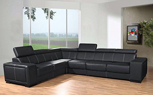 Canapé d'angle 6 places Noir Cuir Moderne