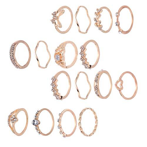 KESYOO Conjunto de 16 peças de anéis de dedo simples de articulação dourada empilhável anel de dedo vintage joia presente para mulheres e mulheres