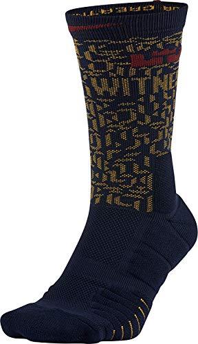 Unisex LeBron Elite Quick Crew Basketball Socks COLLEGE NAVY/UNIVERSITY GOLD/TEAM RED (MEDIUM)