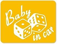 imoninn BABY in car ステッカー 【マグネットタイプ】 No.30 ダイス (黄色)