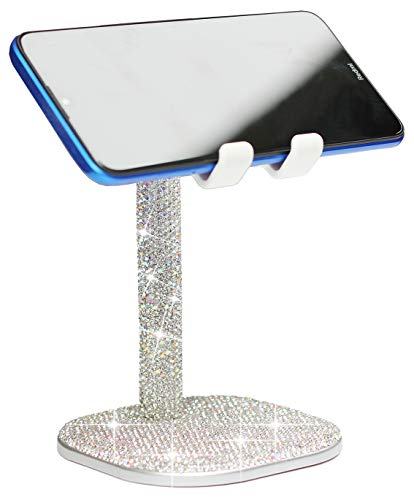 CARCHILE Bling Rhinestone Crystal Phone Stand, Adjustable Cell Phone Stand, Phone Holder for Desk, Desktop Holder, Cradle Compatible with iPhone Xs Xr 8 7 Plus 11 Pro Max Samsung Smartphones (White)