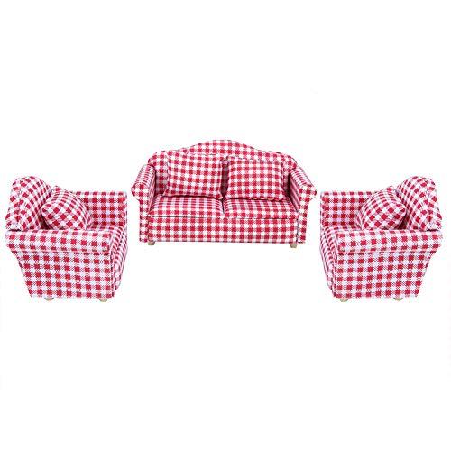 Jadpes 【Regalo di Capodanno】 Set di mobili per casa delle bambole, divano in stoffa per casa delle bambole, collezione scala 1:12 per bambini (divano in tessuto)