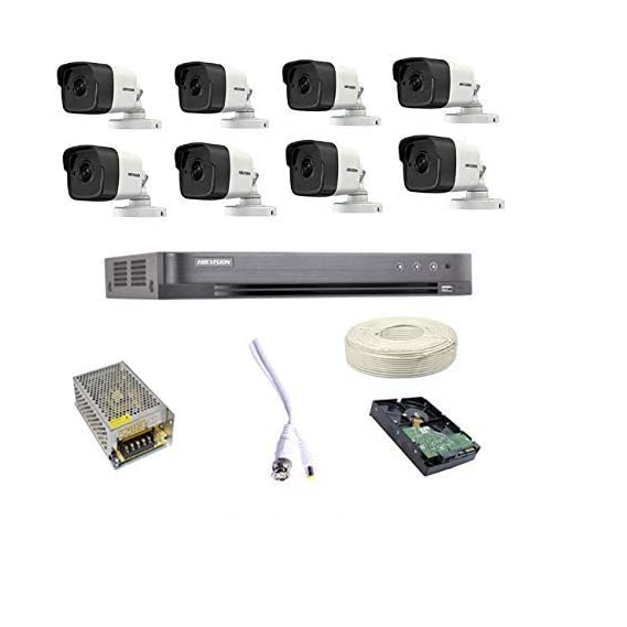 HIKVISION Full HD 5MP Cameras Combo KIT 8CH HD DVR+ 8 Bullet Cameras +2TB Hard DISC+ Wire ROLL +Supply & All Required CONNECTORS,by Techno-krat