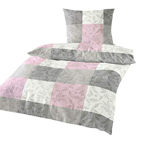 Traumschlaf Seersucker Bettwäsche Fleur Rose 1 Bettbezug 135 x 200 cm + 1 Kissenbezug 80 x 80 cm