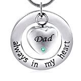 ZYYH Collar con Colgante de urna de Acero Inoxidable con corazón de Amor para papá, joyería de cremación de Recuerdo de Ceniza