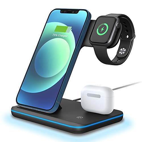 POWERGIANT Cargador inalámbrico Plus, 15W Base Cargador Rápida, 3 en 1 Estacion de Carga Qi Inalambrica, Wireless Charger para iPhone 12 /11 pro/ XS/X/SE/ iWatch 6/5/4/3/2/1