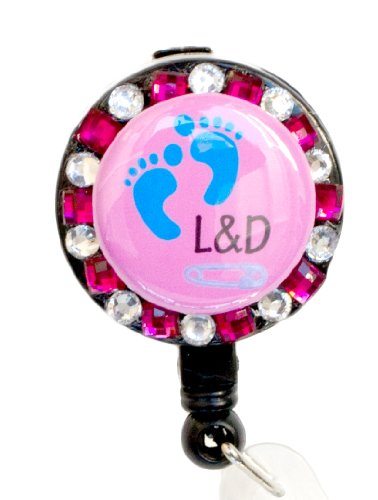Labor and Delivery RN/Baby Footprint Pink Rhinestone Retractable Badge Reel/ID Badge Holder