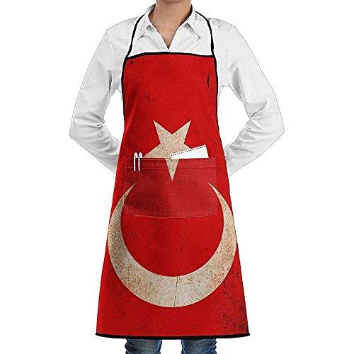 Chef Schort Turkse Vlag Schort Kant Unisex Mens Womens Chef Verstelbare Polyester Lange Volledige Zwarte Koken Keuken schorten Bib Met Zakken Voor Restaurant Bakken Crafting Tuinieren Bbq Grill