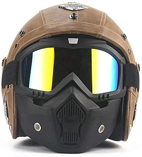 Casco de moto retro de cara abierta, con visera para adultos 3/4, modelado de motocicleta, casco de choque vintage, bicicleta, crucero, ciclomotor, scooter, ATV, cascos, aprobado por el DOT,Brown-M