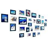 Marcos de fotos FUFU Múltiples imágenes de Fotos Marcos de Pared Set 26 Piezas Set Pared Madera for decoración de Ministerio del Interior Azul y Blanco