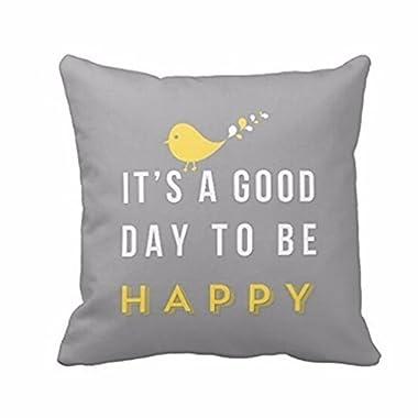 Square Pillowcase,Muxika 18  X18  Fashion Top Quality Yellow Bird Letter Square Throw Pillow Case Cushion Home Decor Good Gift (Gray)