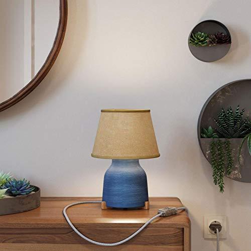 Lámpara de sobremesa de cerámica con Pantalla Imperio, Completa con Cable Textil, Interruptor y Clavija de 2 Polos - Sin Bombilla, Azul Rayado - Yute Natural
