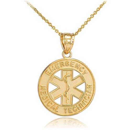10k Yellow Gold EMT Charm Emergency Medical Technician Star of Life Pendant Necklace, 22