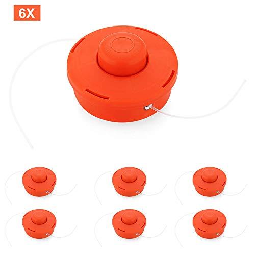 6 Pcs Fadenspule Doppelfadenkopf Fadenkopf Rot Kunststoff Fadenspule Nylonschnurrolle Rasentrimmerzubehör für Motorsense