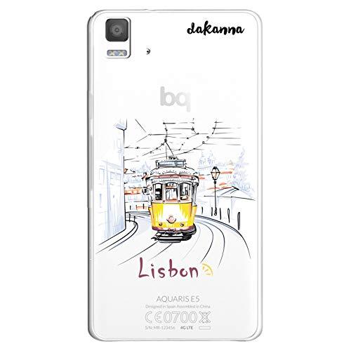 dakanna Funda para [Bq Aquaris E5 4G - E5S] de Silicona Flexible, Dibujo Diseño [Tranvia Vintage en la Ciudad de Lisboa], Color [Fondo Transparente] Carcasa Case Cover de Gel TPU para Smartphone