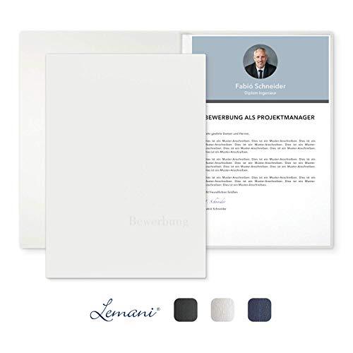 5 Stück 2-teilige Bewerbungsmappen Lemani® IMPULS 'pearl white' mit 1 Klemmschiene - Premium-Qualität mit feiner Tweed-Struktur, unverwechselbarer Haptik und hochwertiger Prägung 'Bewerbung'