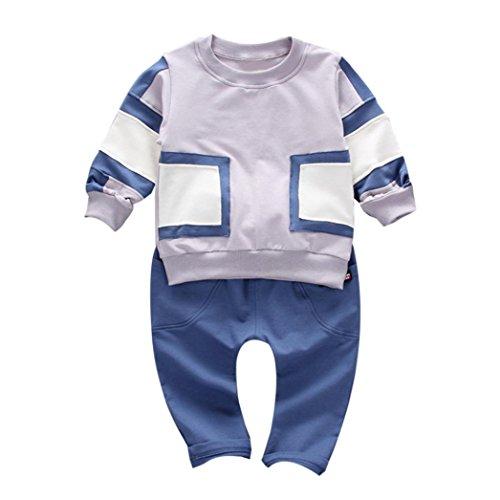 Bebe Garcon Automne Pullover Survêtement Ensmble Sweatshirt et Panta Oufits (12M, Gris)