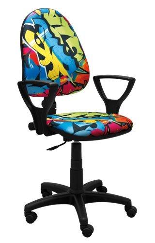 Best For Kids IDIMEX mesa silla juvenil de–Silla de oficina para niños giratoria Super 5colores Diseño de fútbol football Graffiti Ergo ⭐