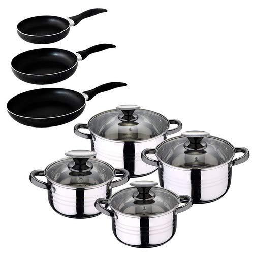 San Ignacio - Batería de cocina 4 cacerolas 4 tapas de vidrio y 3 sartenes 16/20/24, acero inoxidable, inducción